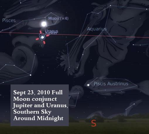 Sept 2010 Full Moon Conjunct Jupiter and Uranus